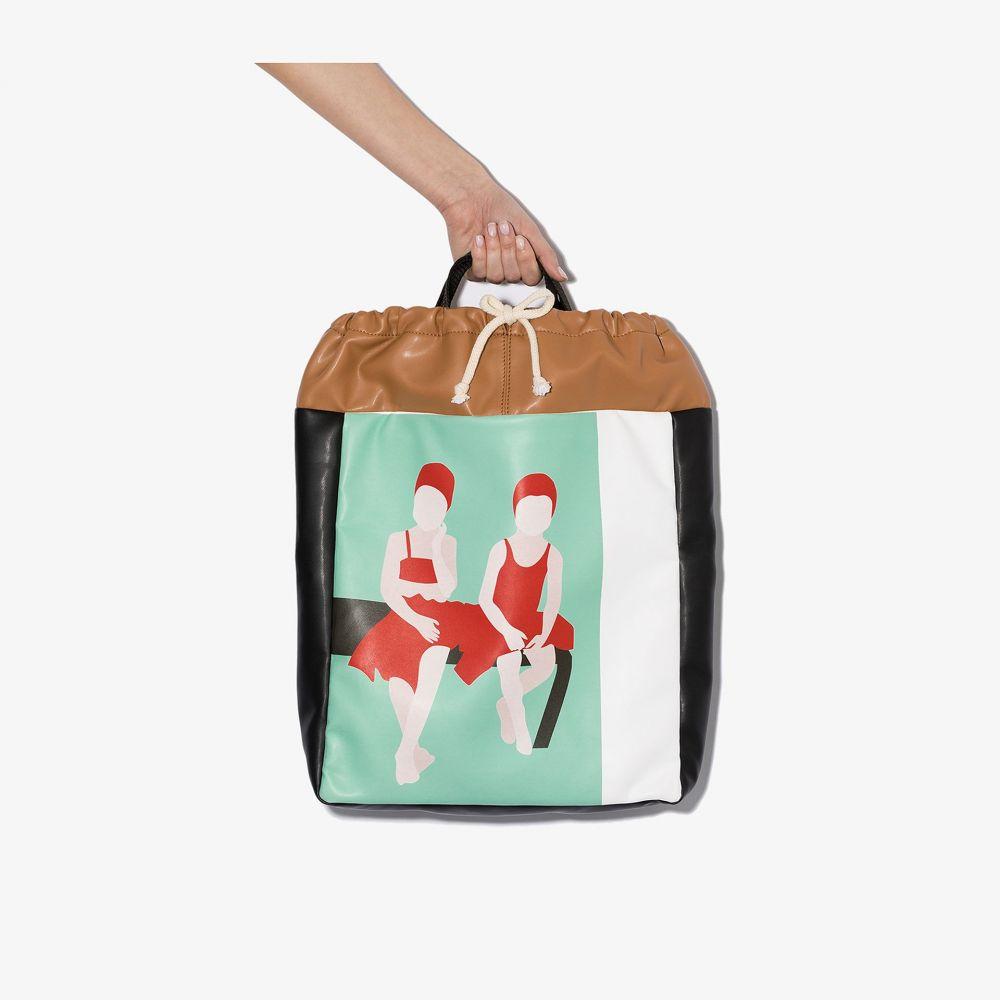 プラン C Plan C レディース トートバッグ バッグ【multicoloured Costume printed leather tote bag】brown