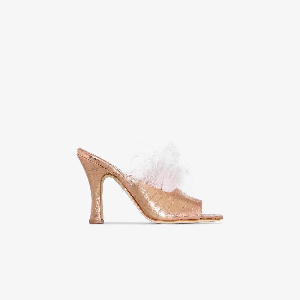 パリ テキサス Paris Texas レディース サンダル・ミュール シューズ・靴【pink 90 feather embellished patent leather mules】pink