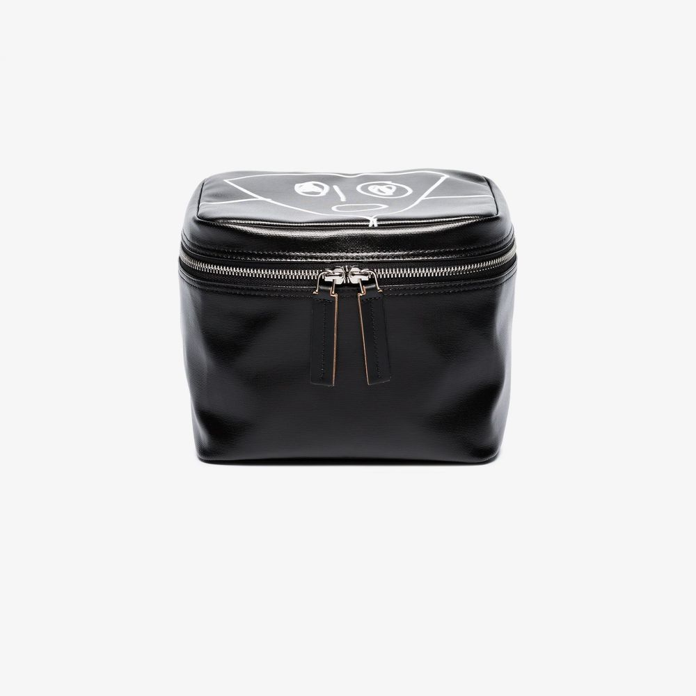 プラン C Plan C レディース ポーチ 化粧ポーチ【black printed leather cosmetic bag】black