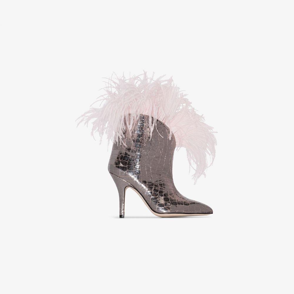 パリ テキサス Paris Texas レディース ブーツ シューズ・靴【Silver 90 mock croc feather trim boots】silver