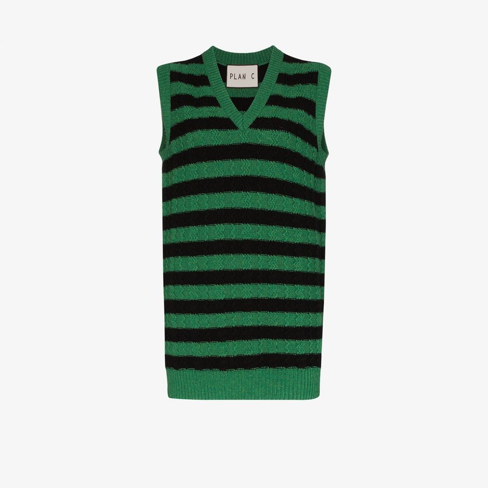 プラン C Plan C レディース ベスト・ジレ Vネック トップス【Oversized striped V-neck vest】green