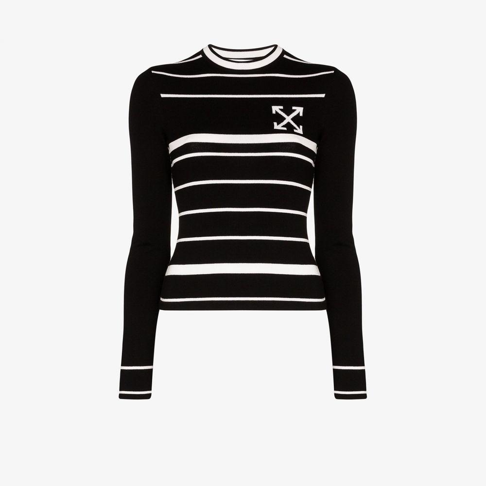 オフホワイト Off-White レディース ニット・セーター トップス【stripe intarsia knitted top】black