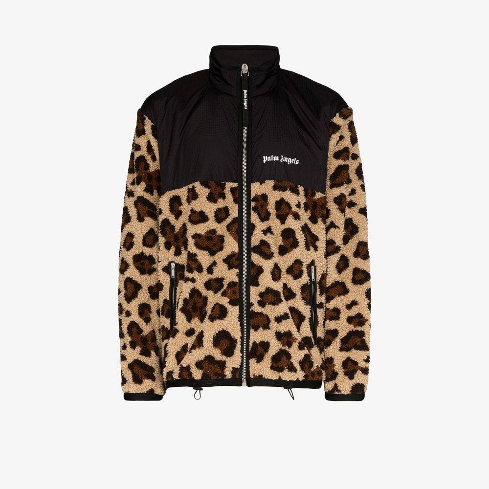 パーム エンジェルス Palm Angels メンズ ジャケット アウター【leopard print zip-up jacket】brown
