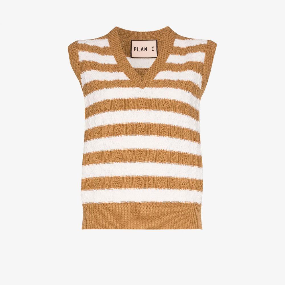 プラン C Plan C レディース ベスト・ジレ トップス【striped wool sweater vest】neutrals