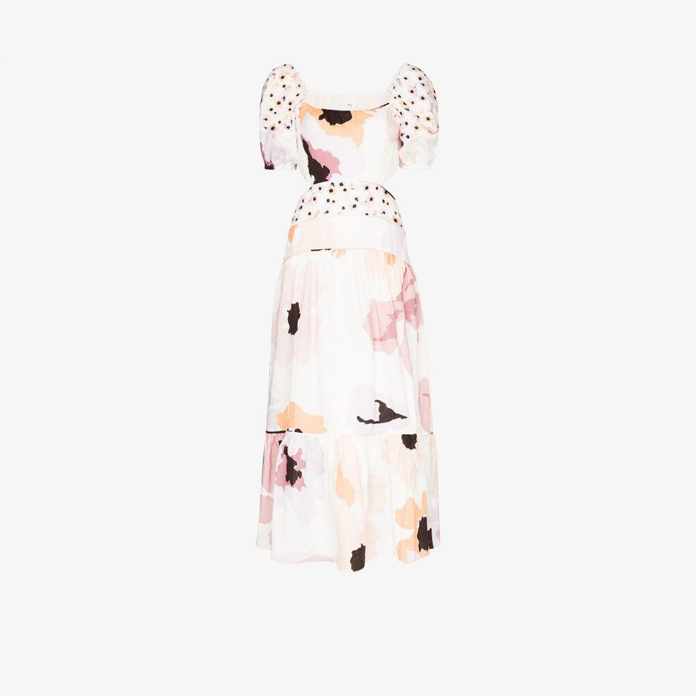 ポーニー Peony レディース パーティードレス ミドル丈 ワンピース・ドレス【floral cutout linen midi dress】white