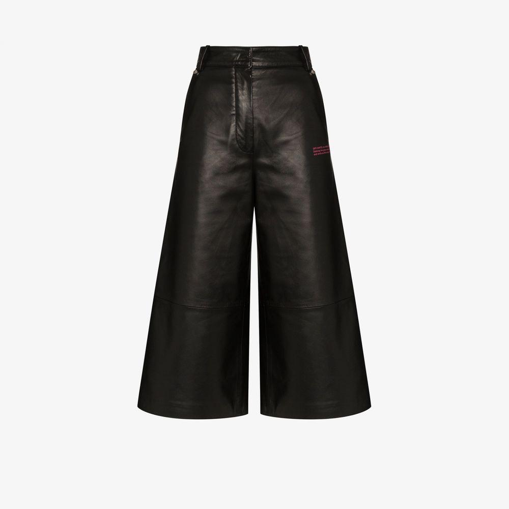 オフホワイト Off-White レディース ショートパンツ ワイドパンツ ボトムス・パンツ【wide leg leather shorts】black