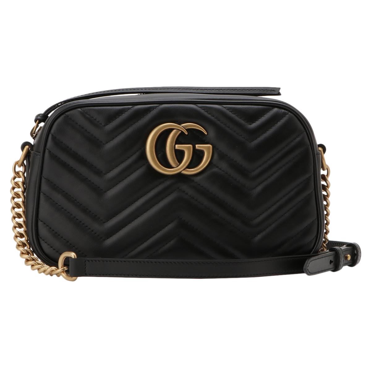 【即納】グッチ Gucci レディース バッグ ショルダーバッグ【GG Marmont 2.0 447632 DTD1T 1000】BLACK GGマーモント キルティング クロスボディ