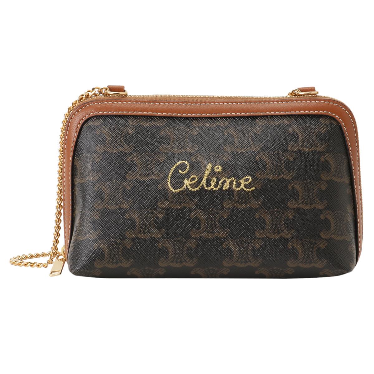 【即納】セリーヌ Celine レディース バッグ ショルダーバッグ【Clutch With Chain 10E382CCH】BROWN クラッチバッグ 2way マカダム トリオンフ
