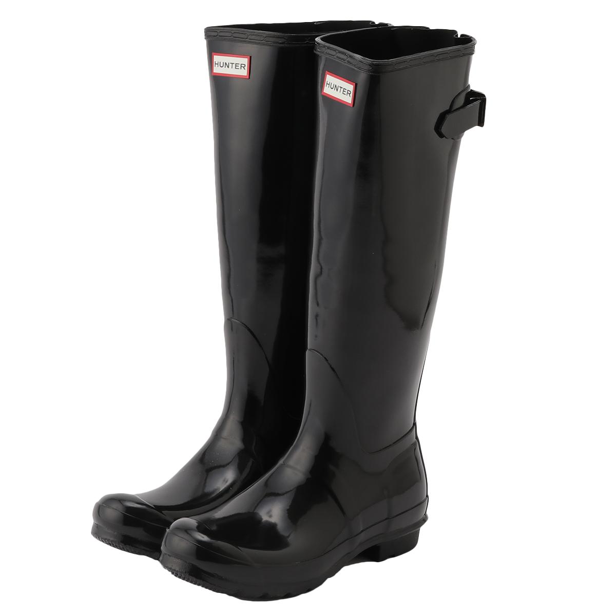 【即納】ハンター HUNTER レディース シューズ・靴 レインシューズ・長靴【WOMENS ORG BACK ADJUST GLOSS BOOTS】BLK