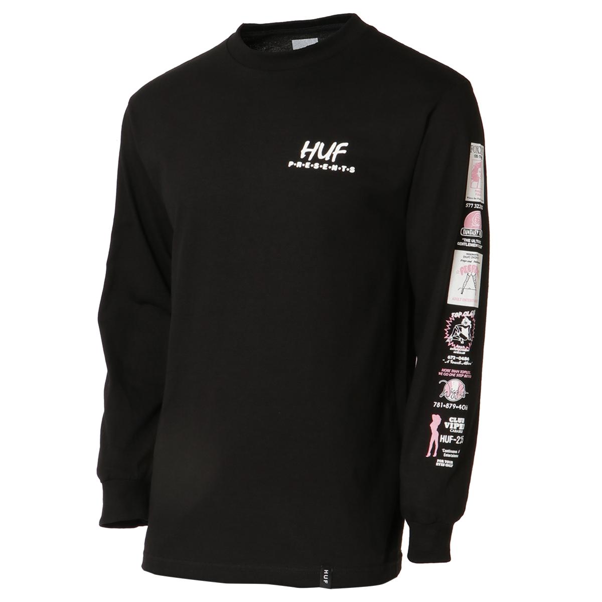 【即納】ハフ HUF メンズ トップス 長袖Tシャツ【PITSTOP L/S TEE】BLACK ロンT ロングT ロングスリーブ