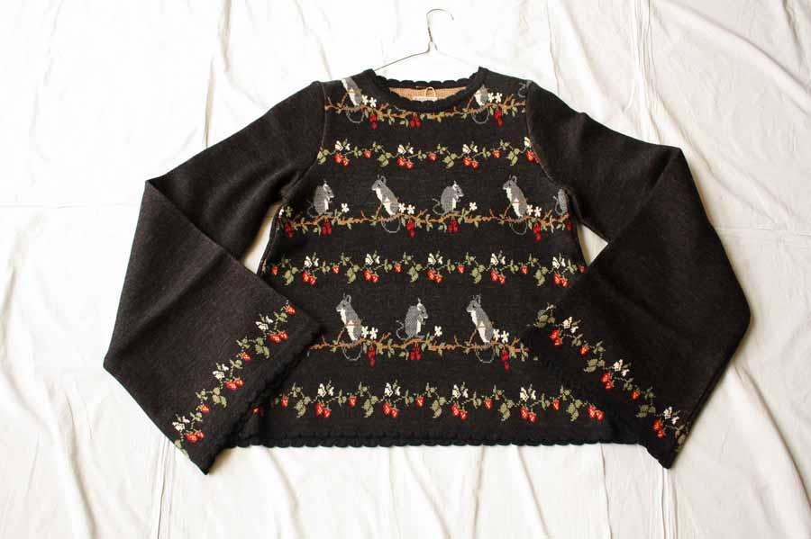 【送料無料】kapital キャピタル 7Gウールねずみ柄ジャガードベルスリーブセーター