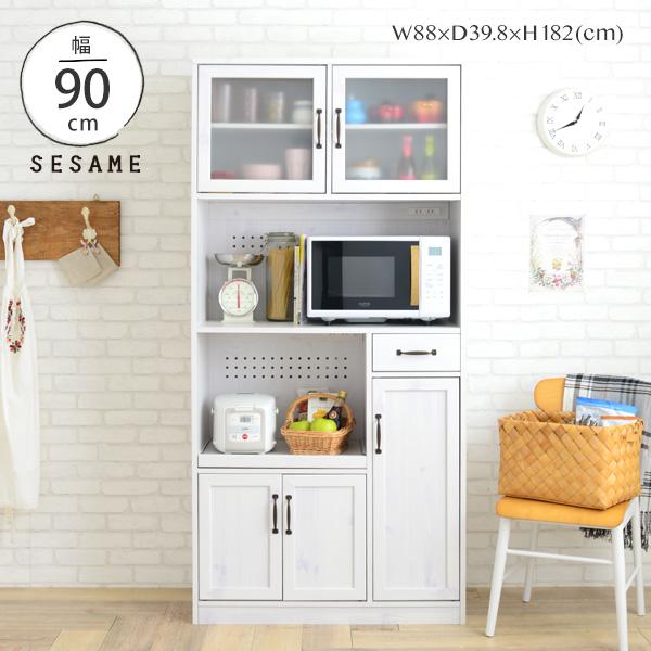 全品送料無料♪ レンジ台 大容量 キッチンボード 食器棚 一人暮らし キッチン収納 幅88cm 88幅 レンジボード オープンボード スライド 白 ホワイト シンプル かわいい おしゃれ <LUFFY/LU180-90L>