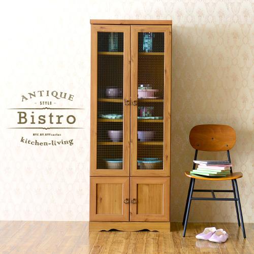 北欧 食器棚 キッチン収納 カップボード キッチンキャビネット アンティーク 白 ホワイト 一人暮らし 木製 シンプル かわいい キャビネット おしゃれ <Bistro/BTC150-60G>