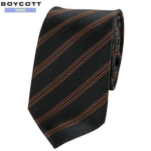 ネコポスでの配送の場合は全国送料無料 SALE大特価 BOYCOTT ボイコット カラーストライプ刺繍 シルクネクタイ 永遠の定番モデル 9 21 送料無料 黒×橙 3 160921 超特価