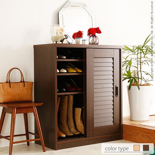 Shoe Rack Door Storage Cupboard Sliding Doors Louvred Clematis Low Type Width 75 Cm Box シューズボックス