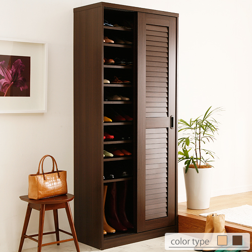 Shoe rack door storage cupboard  sliding doors louvred shoe rack Clematis [Clematis] high type width 75 cm front storage box k-0 10P13Dec13_m & ffws | Rakuten Global Market: Shoe rack door storage cupboard u0026quot ...