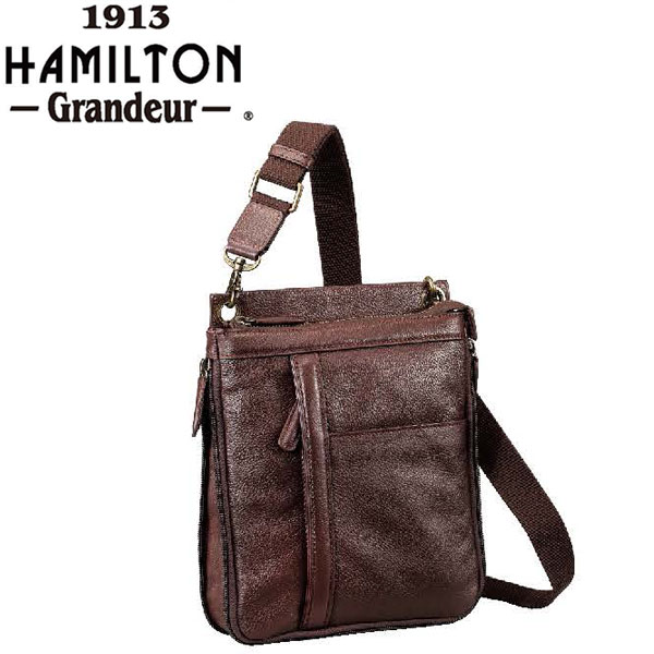 ショルダーバッグ メンズ 牛革 YKKファスナー スマート 縦型 黒 チョコ #16443 ハミルトングランジャー HAMILTON -Grandeur- ポイント10倍 hira39