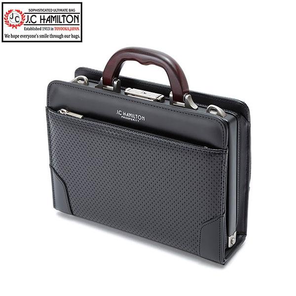 大開きミニダレスバッグ ビジネスバッグ 日本製 豊岡製鞄 メンズ B5 ディンプル加工 天然木手 ワンタッチ錠前 ビジネス 書類 通勤 黒 #22317 ジェイシーハミルトン J.C HAMILTON ポイント10倍 hira39