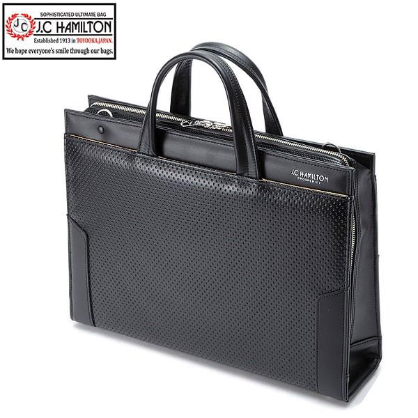 大開き ブリーフケース ビジネスバッグ 日本製 豊岡製鞄 メンズ B4 ディンプル加工 製ハンドル 三方開き ビジネス 書類 通勤 黒 #22319 ジェイシーハミルトン J.C HAMILTON ポイント10倍 hira39