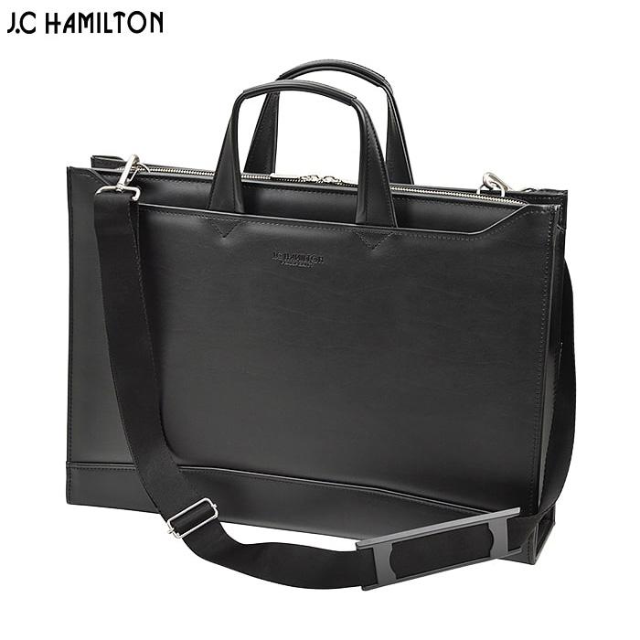 ビジネスバッグ ブリーフケース 日本製 豊岡製鞄 メンズ B4ファイル 大開き 牛革握り YKKファスナースマート スリム ビジネス 書類 通勤 黒 #22345 ジェイシーハミルトン J.C HAMILTON ポイント10倍 hira39