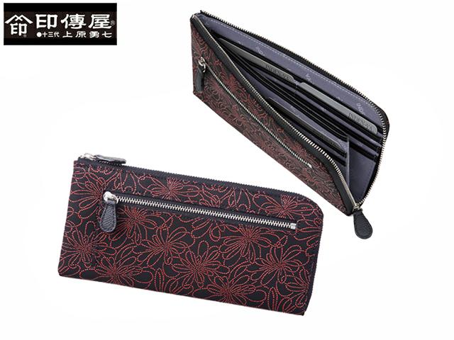 正規品 新生活 母の日  印伝 印傳屋 印伝 レザー コレクション 束入 ラウンドファスナー 長財布 和風 日本製 和柄 2305 indn23