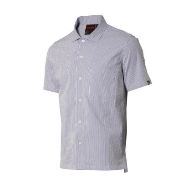 1015-00220-50097 BOULDER Shirt Short Men blue stripe (MAT10552014) 【 マムート 】【QBI35】