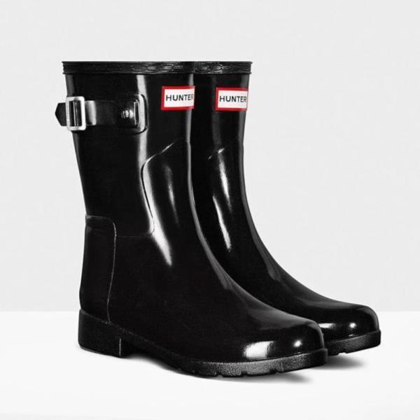 レインシューズ 】【QCA41】 ORG ハンター 【 ) レインブーツ WFS1098RGL-BLK SHORT ショートブーツ 防水 長靴 BLACK HUN10673638 ブーツ レディース W ハンター 雨具 REFINED ( GLOSS