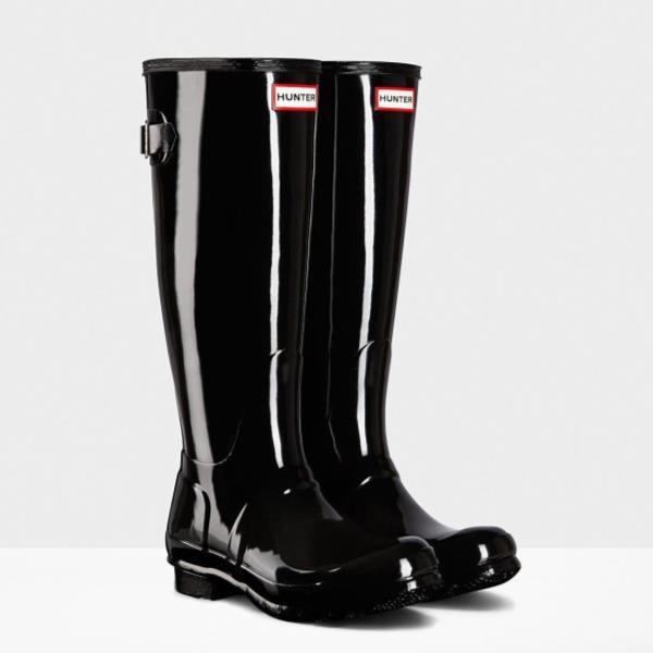 長靴 ブーツ レインブーツ レインシューズ ロングブーツ 防水 雨具 ハンター レディース WFT1001RGL-BLK ORG BACK ADJUST GLOS BLACK ( HUN10673693 ) 【 ハンター 】【QCA04】