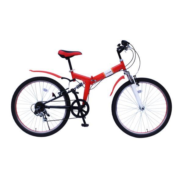 自転車 折りたたみ自転車 自転車 折りたたみ MG-FCP266E FIELD CHAMP WサスFD-MTB26 6SE レッド【MMG】【QCA41】