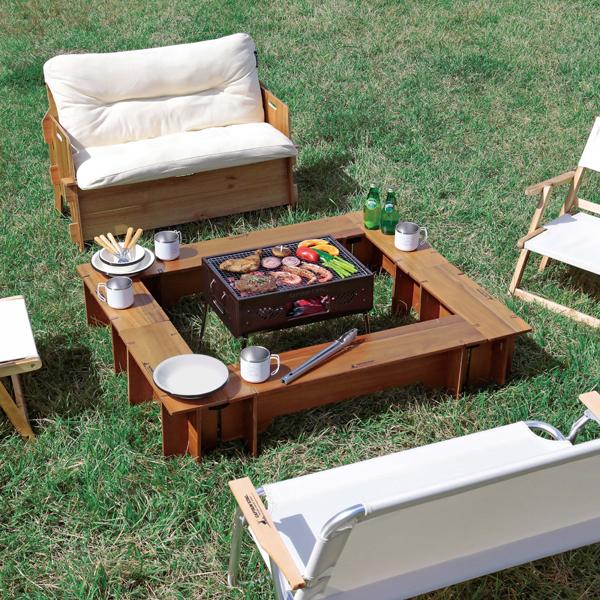 テーブル 天然木 机 天然木 テーブルセット UP-1048 CSクラシックス FireandGrillテーブルセット 6p 【CAG】【QCA04】