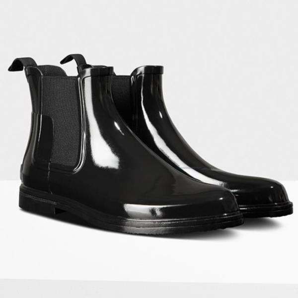 長靴 ブーツ レインブーツ レインシューズ ショートブーツ 防水 ハンター メンズ MFS9060RGL-BLK M ORG REFINED CHELSEA GLOSS BLACK ( HUN10721584 ) 【 ハンター 】【QCA04】