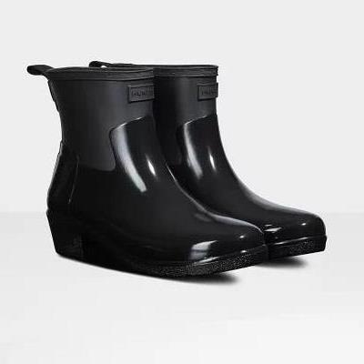 長靴 ブーツ レインブーツ レインシューズ 防水 雨具 ハンター レディース WFS2037DUO-BLK W REF LOW HEEL BIKER GLOSS DUO BLACK ( HUN10782205 ) 【 ハンター 】【QBJ38】