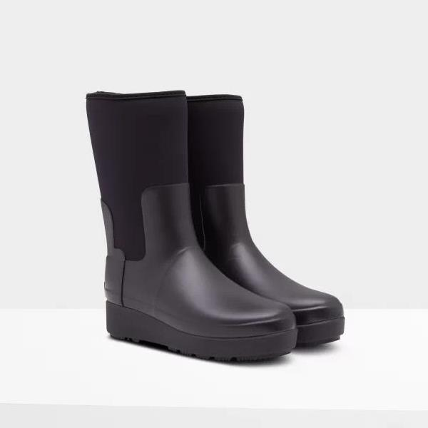 長靴 ブーツ レインブーツ レインシューズ ショートブーツ 防水 雨具 ハンター レディース WFS2061NRE W REFINED CREEPER NEO SHORT BLACK ( HUN10789963 ) 【 ハンター 】【QCA04】