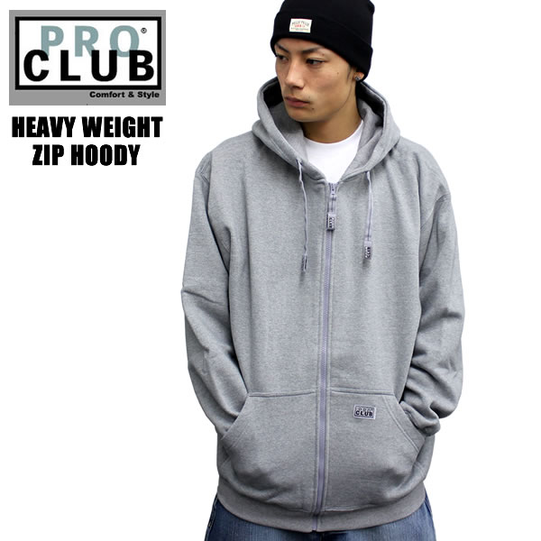 PROCLUB   Pro Club parka ZIP Hoodie Gray heavyweight solid color basic  material tough plain HIPHOP large size s hoodies 1ef39154dc62