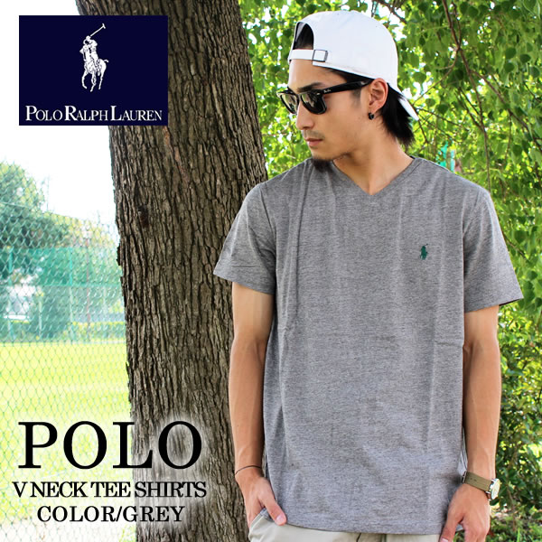 ee086b56c6b30 -POLO RALPH LAUREN Polo Ralph Lauren V neck tee H-gray 710538134008 short  sleeve T shirt V neck cotton fine fit American traditional Ralph Lauren  Polo Ralph ...