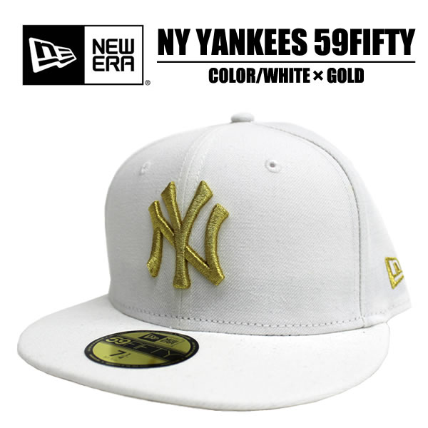 c4968c8b3260e NEWERA new era U.S imported from popular CAP 59FIFTY NY Yankees White x  Gold collar back embroidery