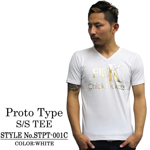 PROTO TYPE prototype V Neck T shirt FUCK SS TEE white / gold stylish a v-necked t-shirt brother of host system tight slender Valentine white day present