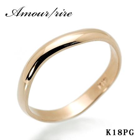 文字入れ無料! Amour(アムール)/rire メンズ リング 18金ピンクゴールド K18PG