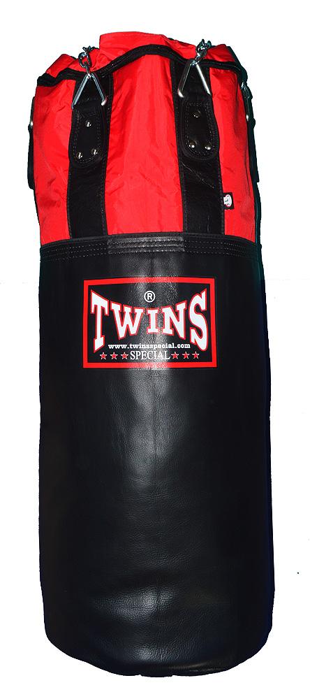 TWINS 本革製ムエタイ式サンドバッグ 黒×赤しま※中身なし 激安 激安特価 送料無料 キックボクシング 空手 デポー サンドバッグ