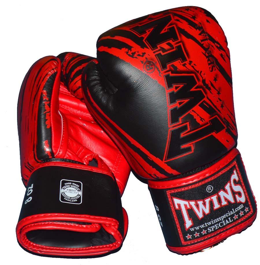 TWINSボクシンググローブ ストライプ3 8oz 黒レッド マジックテープ式