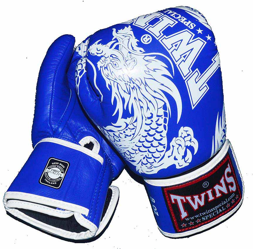 TWINS本革製ボクシンググローブ ドラゴン4 16oz 青×白 マジックテープ式