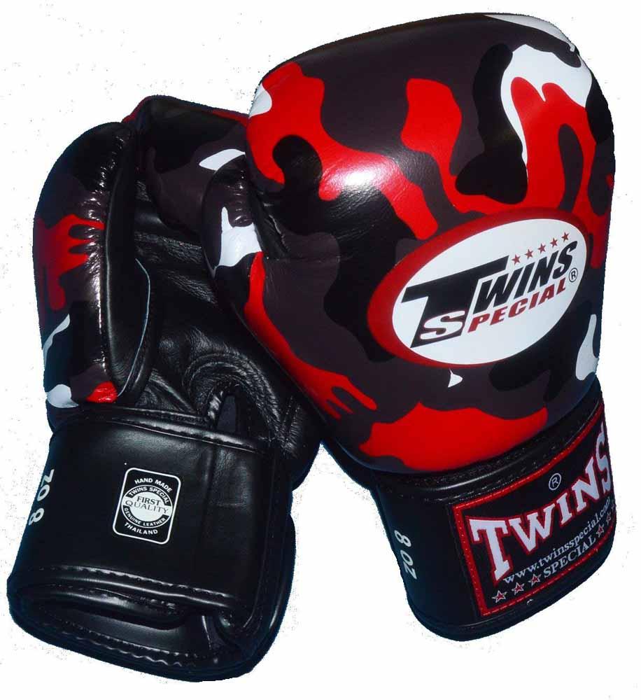 TWINSボクシンググローブ 16oz 迷彩レッド マジックテープ式