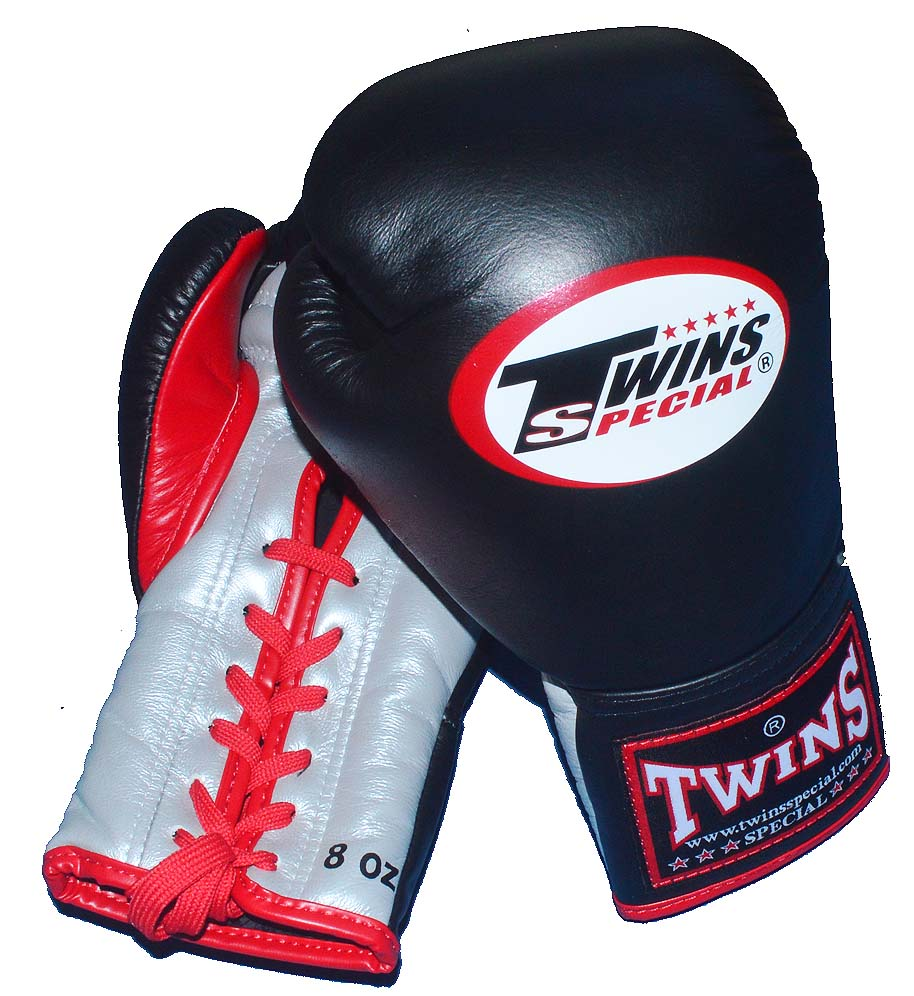 TWINS本革製 ひも式ボクシンググローブ 8oz 黒×シルバー/赤