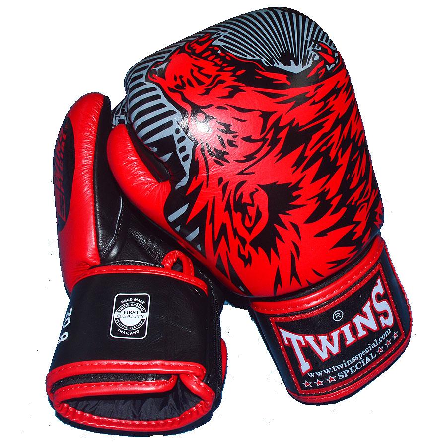 TWINS本革製 ボクシンググローブ ウルフ 8oz/10oz マジックテープ式 黒レッド