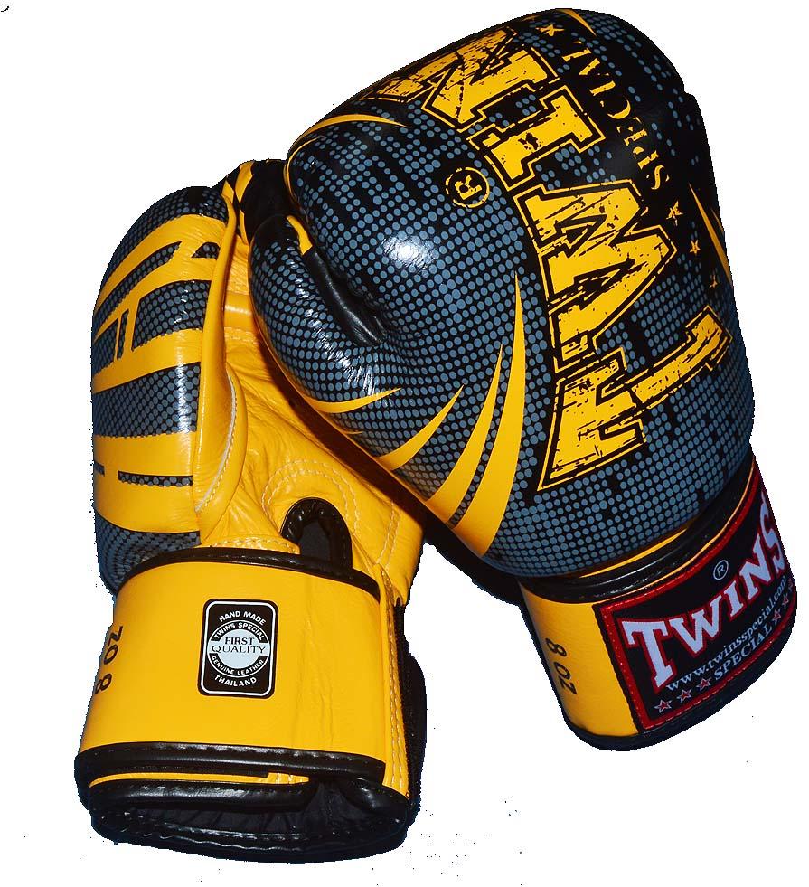 TWINS本革製 ボクシンググローブ  TW5 8oz/10oz マジックテープ式 黒イエロー