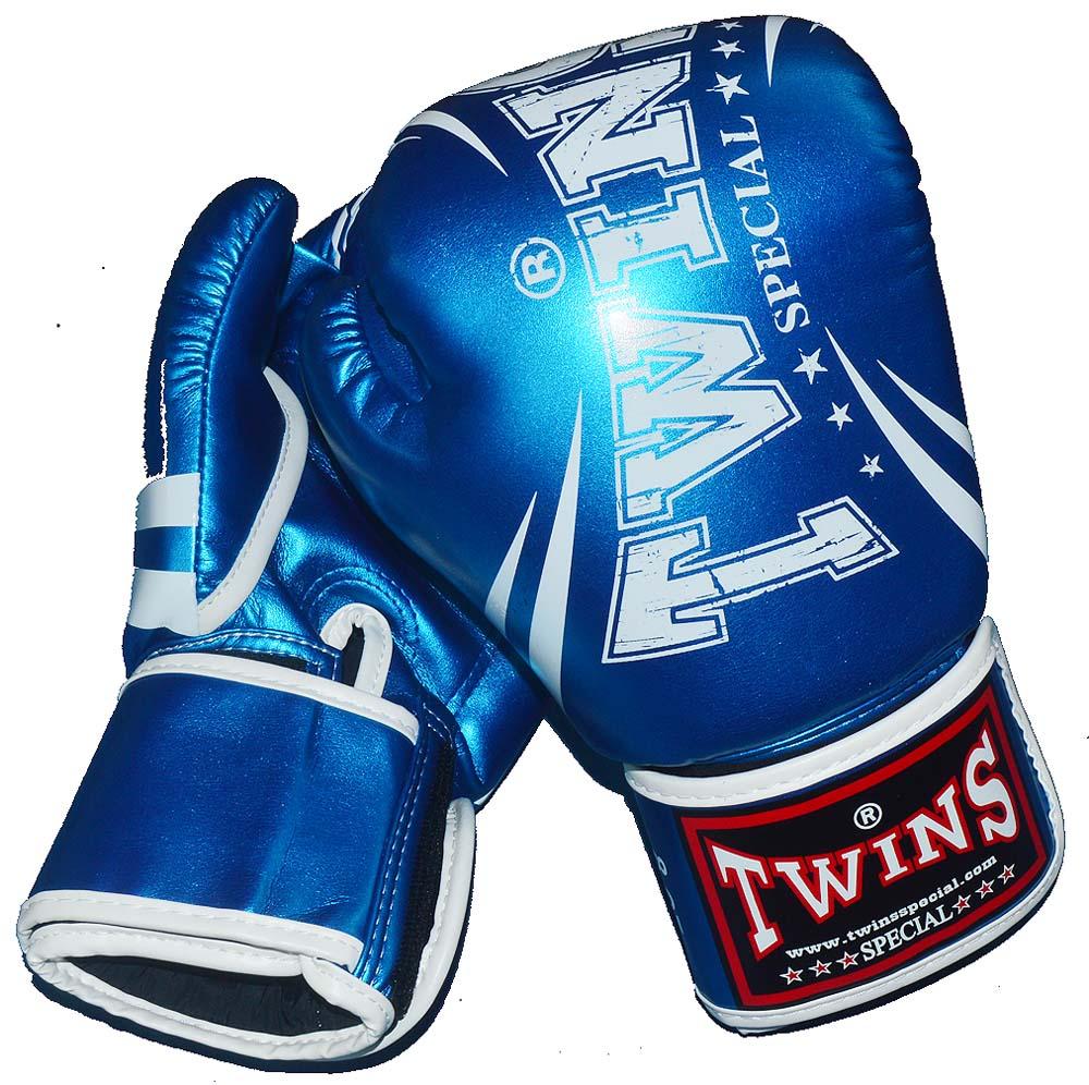 TWINS PU ボクシンググローブ メタリックブルー 12oz/14oz/16oz マジックテープ式