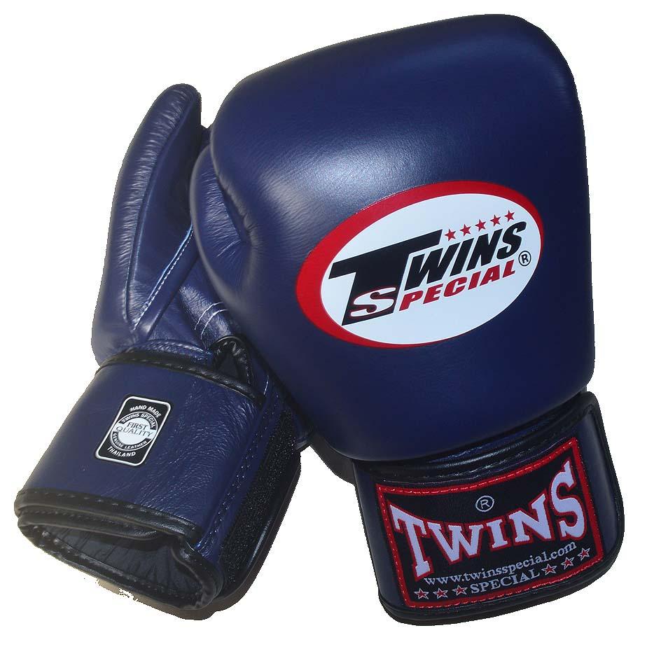 TWINS本革製 ボクシンググローブ 12oz/14oz/16oz ネイビー マジックテープ式