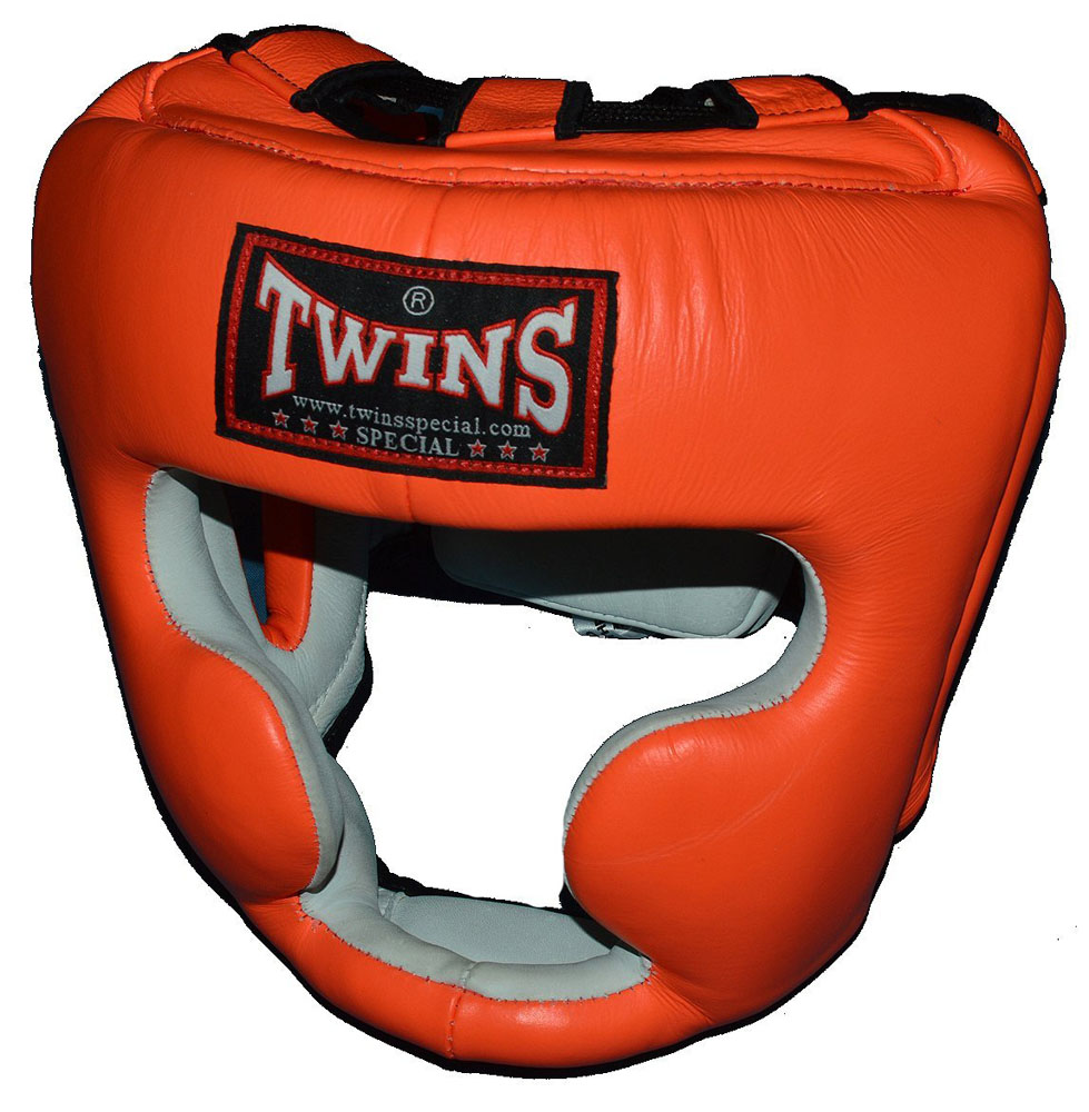 TWINSツインズ 本革製ヘッドギア S、M オレンジ / キッズサイズあり