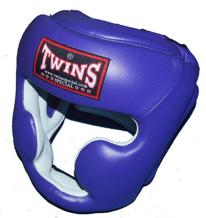 TWINSツインズ 本革製ヘッドギア S、M パープル / キッズサイズあり