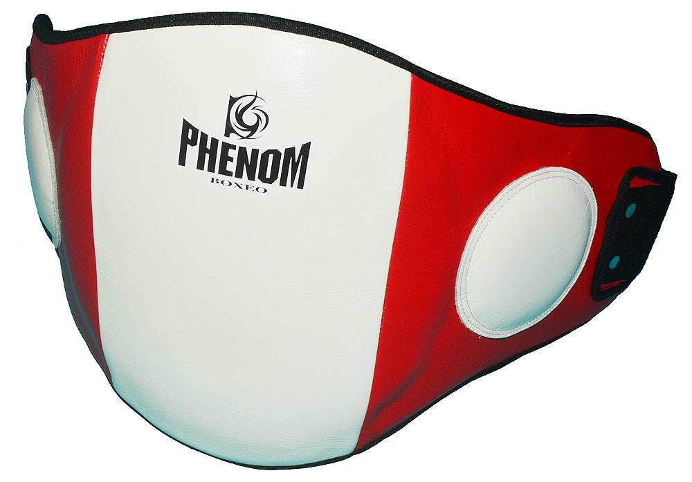 PHENOM セール特価 フェノム 本物 本革ベリープロテクター 赤白 キックボクシング M 空手 L